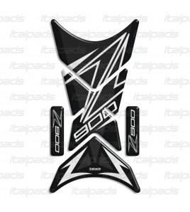 "Paraserbatoio mod. ""Shark"" per kawasaki Z900 nido d'ape/biancoe Range Rover Nero Cromo"