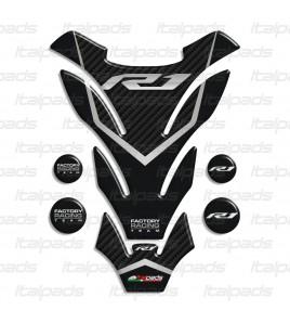 """Paraserbatoio resinato per Yamaha R1 mod. """"Detroit"""" grigio carbonio + 4 Gratis!!"""