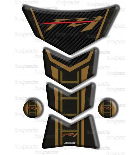 "Paraserbatoio per Yamaha FZ1 ""Frames/S"" oro-carbon look"