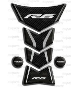 "Paraserbatoio resinato Yamaha R6 ""Frames/S"" nero-carbon look"