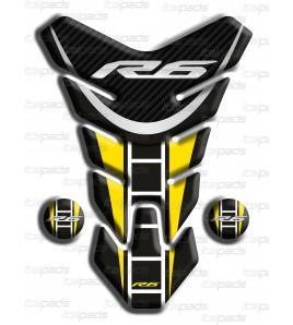 "Paraserbatoio resinato Yamaha R6 ""Nevada"" nero giallo L"