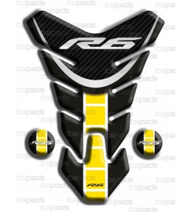 "Paraserbatoio resinato Yamaha R6 ""Nevada"" nero giallo C"