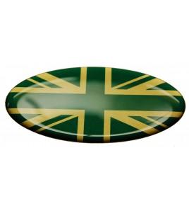 Adesivo bandiera inglese Range Rover OVAL verde inglese su oro