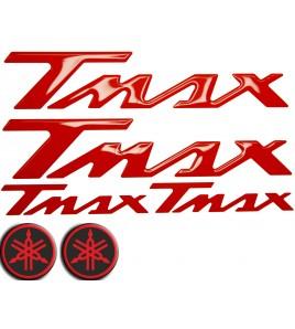 Kit 2+2+2 Adesivi logo Yamaha Tmax in resina ROSSO, Red T-max badge emblem stick