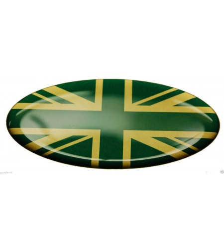 Adesivo Union Jack Royal British flag bandiera inglese Range Rover OVAL Green