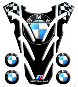 "Paraserbatoio resinato BMW nero resin TANK PAD black ""top wings"" +4"