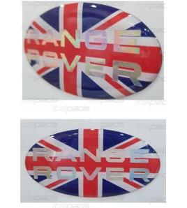 Adesivo sticker bandiera inglese Range Rover testo cromo perlato