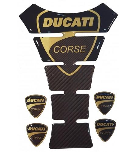 """Paraserbatoio """"Ducati Corse"""" Texas oro/carbonio +4"""